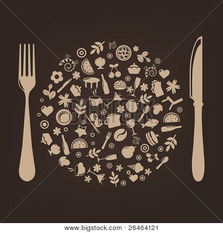 Restaurante los iconos en forma de esfera con enchufe y cuchillo, Vector Illustration