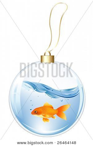 Christmas Glasses Ball With GoldFish In Water Inside, Isolated On white