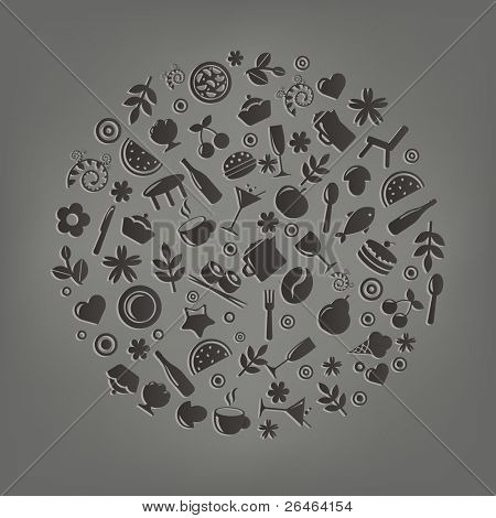 Restaurant Symbole in Form der Kugel, Vektor-illustration