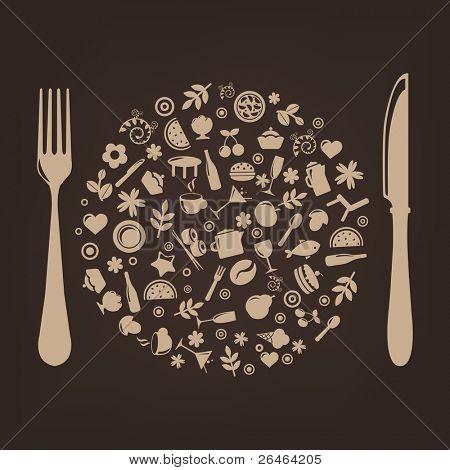 Restaurante ícones em forma de esfera com Plug e faca
