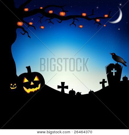 Pumpkins With Tree, Raven And Cemetery, Vector Illustration