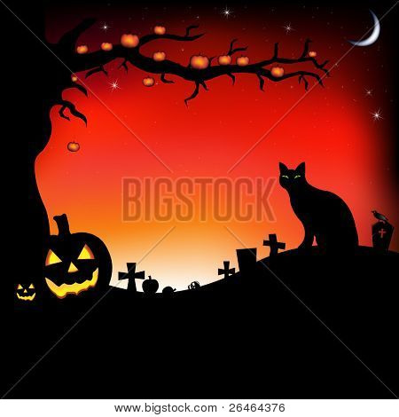 Halloween Illustration With Pumpkins, Black Cat, Cemetery And Raven, Vector Illustration