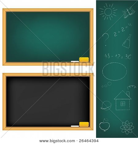 2 School Boards And Drawings Drawn by Chalk, Isolated On White Background, Vector Illustration
