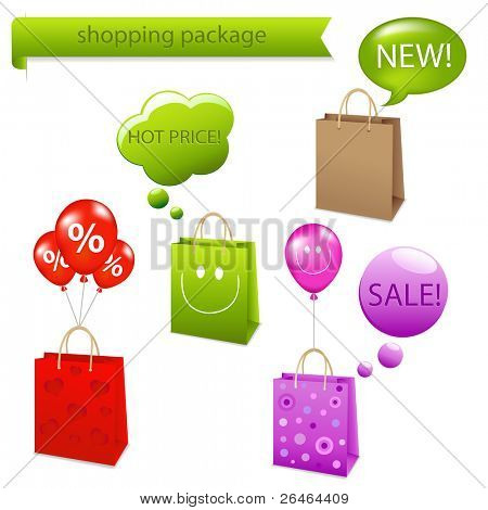 4 Shopping Package  With Dialog Bubble, Isolated On White Background, Vector Illustration