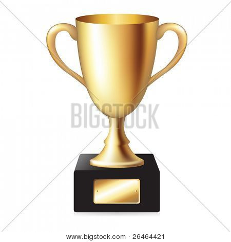 Gold Trophy Cup, Isolated On White Background, Vector Illustration