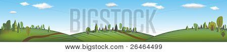 Banner With Landscape, Vector Illustration