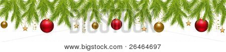 Merry Christmas Banner With New Year's Spheres, Stars, Streamer And Holly Berry, Isolated On White Background, Vector Illustration