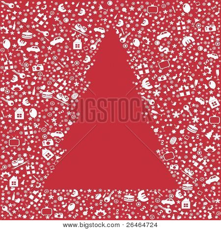 Christmas Tree From Icons, Vector Illustration