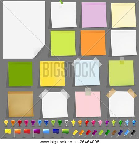 15 Sticky Papers With Adhesive Tapes, Pushpin And GPS Map Elements, Vector Illustration