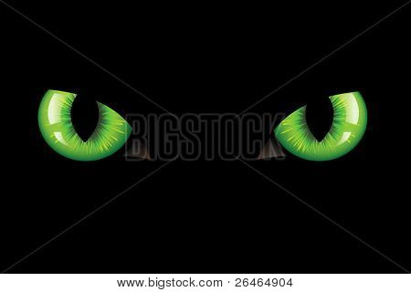 Green Dangerous Wild Cat Eyes, On Black Background, Vector Illustration