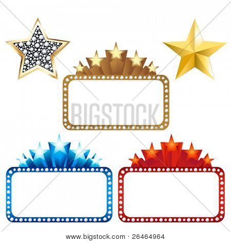 3 Blank Billboards With Stars And 2 Gold Stars, Isolated On White Background, Vector Illustration