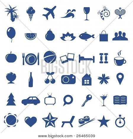 Tourism And Vacation Icons, Isolated On White Background