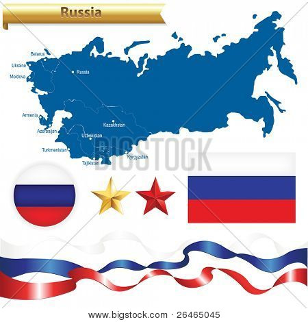 Russian Federation Set, Russia Map (CIS a Commonwealth of Independent States) With Flag, Badge And Stars, Isolated On White Background