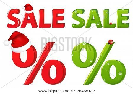 2 Percent With Cap Of Santa Claus And Ladybird, Isolated On White Background, Vector Illustration