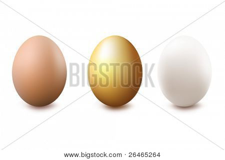 3 Eggs, Gold, White And Brown, Isolated On White Background, Vector Illustration