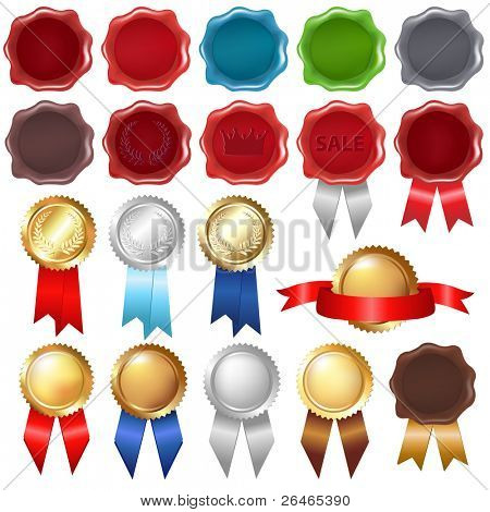 Collection Wax Seal And Award Ribbons, Isolated On White Background, Vector Illustration