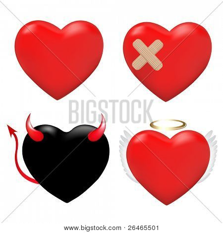 4 Hearts, Heart With Plaster, And Hearts As An Angel And Demon, Isolated On White Background, Vector Illustration