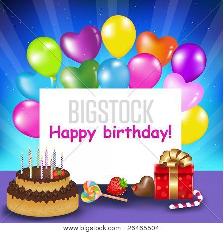 Decoration Ready For Birthday With Birthday Cake With Candles, Balloons, Sweets And Gift, Vector Illustration