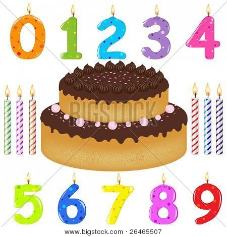 Birthday Cake With Candles Of Different Form, Isolated On White Background, Vector Illustration