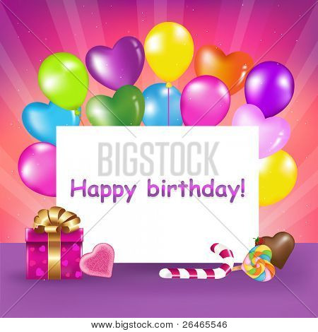 Decoration Ready For Birthday With Balloons, Sweets And Gift, Vector Illustration