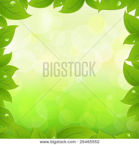 Spring Leaves With Green Bokeh, Vector Illustration