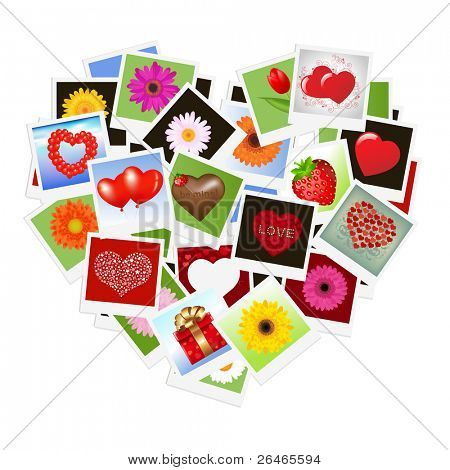 Romantic Background With Hearts From Photo, Vector Illustration