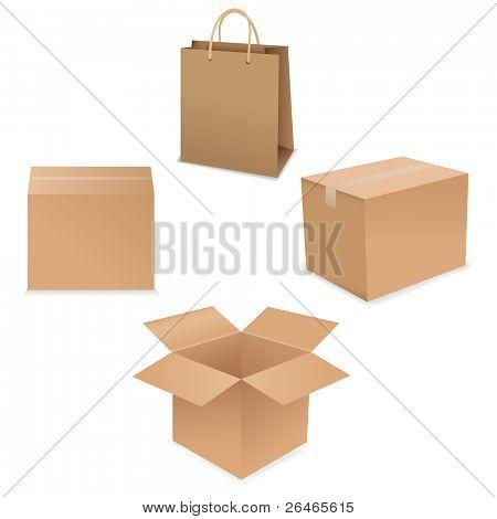 Shipping Box Set, Isolated On White Background, Vector Illustration