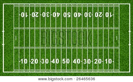 American Football Field, Isolated On White Background, Vector Illustration
