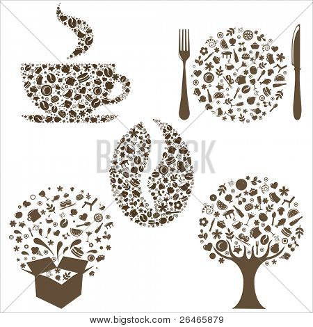 Restaurant Icons In Form Of  Tree, Coffee Grain, Cup, Box And Plate With Plug And  Spoon,  Isolated On White Background, Vector Illustration