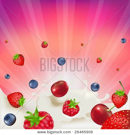 Strawberry, Raspberry, Bilberry And Cherry,  Falling Into Splash Of Milk, Vector illustration