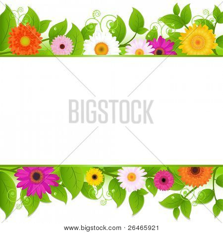 Flowers Background With Leaves,  Vector Illustration