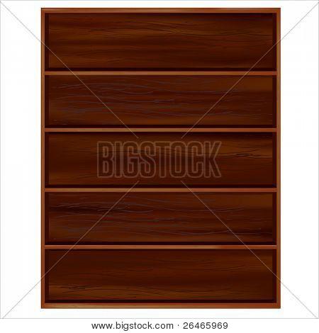 Bookshelf From Dark Wood With Shelves, Isolated On White Background, Vector Illustration