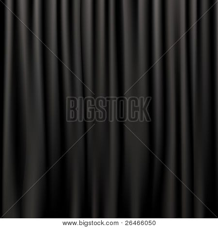 Negro cortinas de seda, Vector Illustration