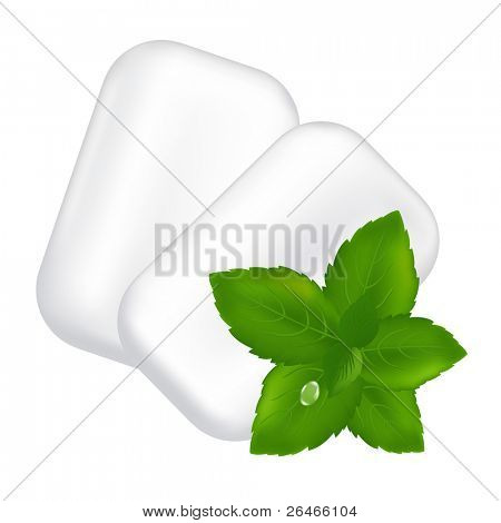 Chewing Gum And Fresh Mint Leaves, Isolated On White Background, Vector Illustration