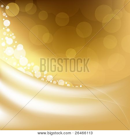Golden Background With Stars And Bokeh, Vector Illustration