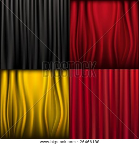 4 Silk Curtains, Vector Illustration