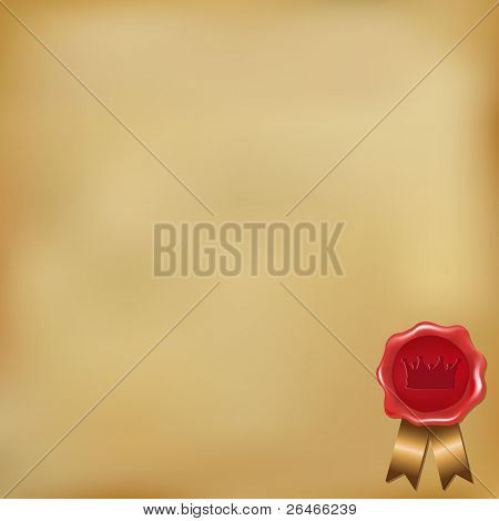 Old Paper Background With Wax Seal, Vector Illustration