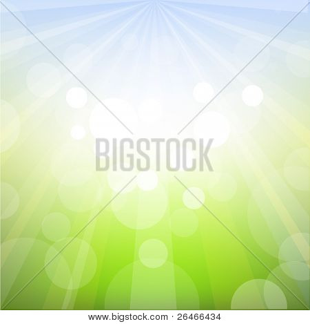 Fondo de primavera con Bokeh, Vector Illustration