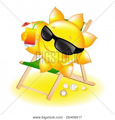 Sun With Cocktail In Chaise Lounge, Vector Illustration