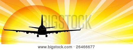 Airplane Silhouette Over Sunset, Vector Illustration