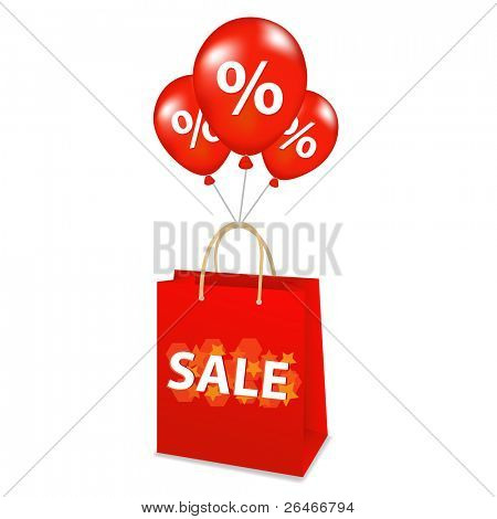 Sale Package With Balloons, Isolated On White Background, Vector Illustration