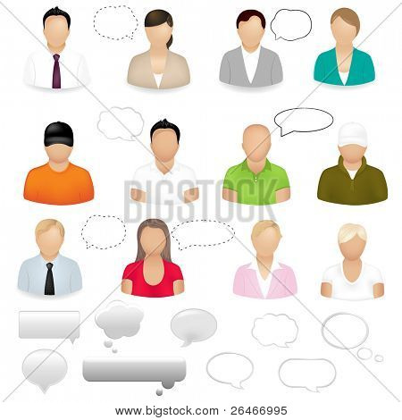 12 People Icons With dialogue Bubbles, Isolated On White Background