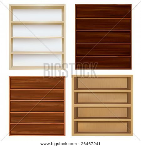 Set Empty Bookshelf, Isolated On White Background, Vector Illustration
