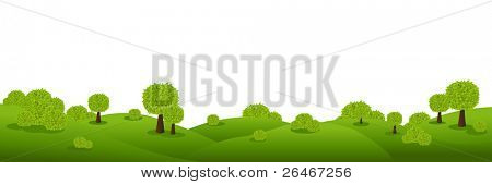 Landscape Panorama, Isolated On White Background, Vector Illustration