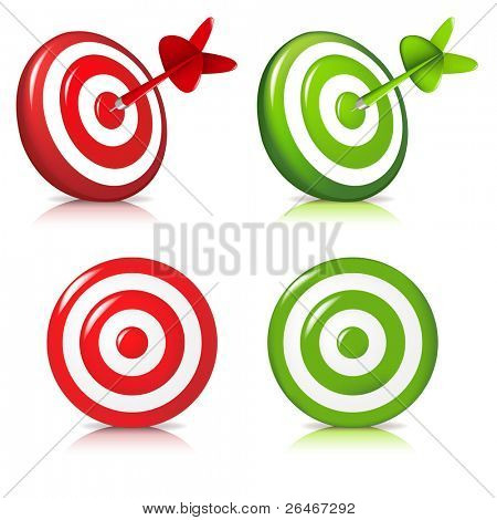 4 Darts Hitting A Target, Isolated On White Background, Vector Illustration