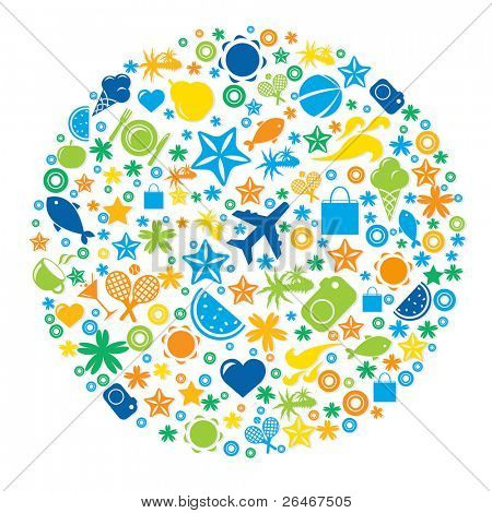 Sphere From Tourist Icons, Isolated On White Background, Vector Illustration