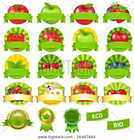 Fruits And Vegetables Labels Set, Isolated On White Background, Vector Illustration