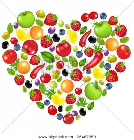 Heart From Vegetables And Fruit, Isolated On White Background, Vector Illustration