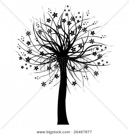 Black Tree, Isolated On White Background, Vector Illustration