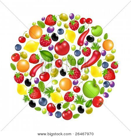 Circle From Vegetables And Fruit, Isolated On White Background, Vector Illustration